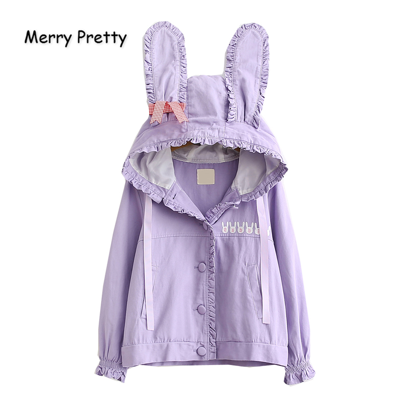Merry Pretty 2019 Women's Autumn Winter   Basic     Jackets   Ladis Rabbit Ears Embroidery Cute   Jacket   Single Breasted Pink Outerwear