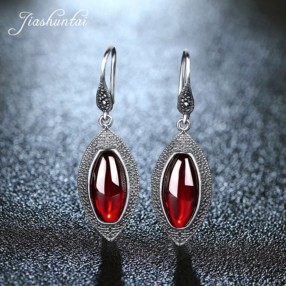 JIASHUNTAI Retro 100% Silver Drop Earrings Female Vintage Long Earrings 925 Sterling Silver Jewelry For Women pair of retro style tai ji color block drop earrings for women