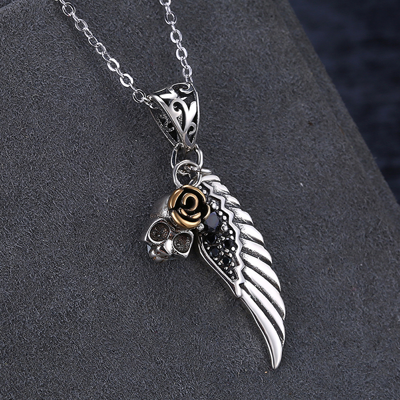 Pure Snow Classic 925 Sterling Silver Fashion Wings Feather Charms Pendant Necklace Women Wedding Fine Jewelry SVN203