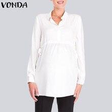 8b6c253ae VONDA embarazo camisas blancas 2019 otoño cuello en V de manga completa  blusa Casual suelta más tamaño Tops Blusas Femininas