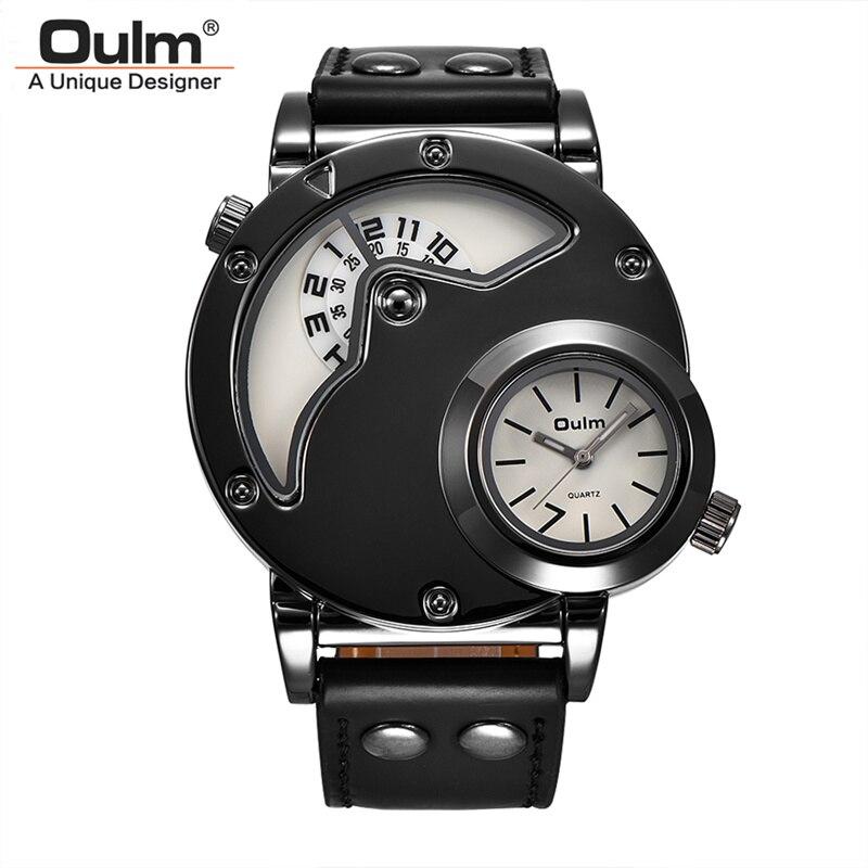 fb6f8d7e2a8 Oulm Quartz Desporto Relógios Dos Homens Top Marca de Luxo Três Fuso Horário  do Homem relógio de Pulso de Couro Casual Ao Ar Livre Esportes Relógio dos  ...