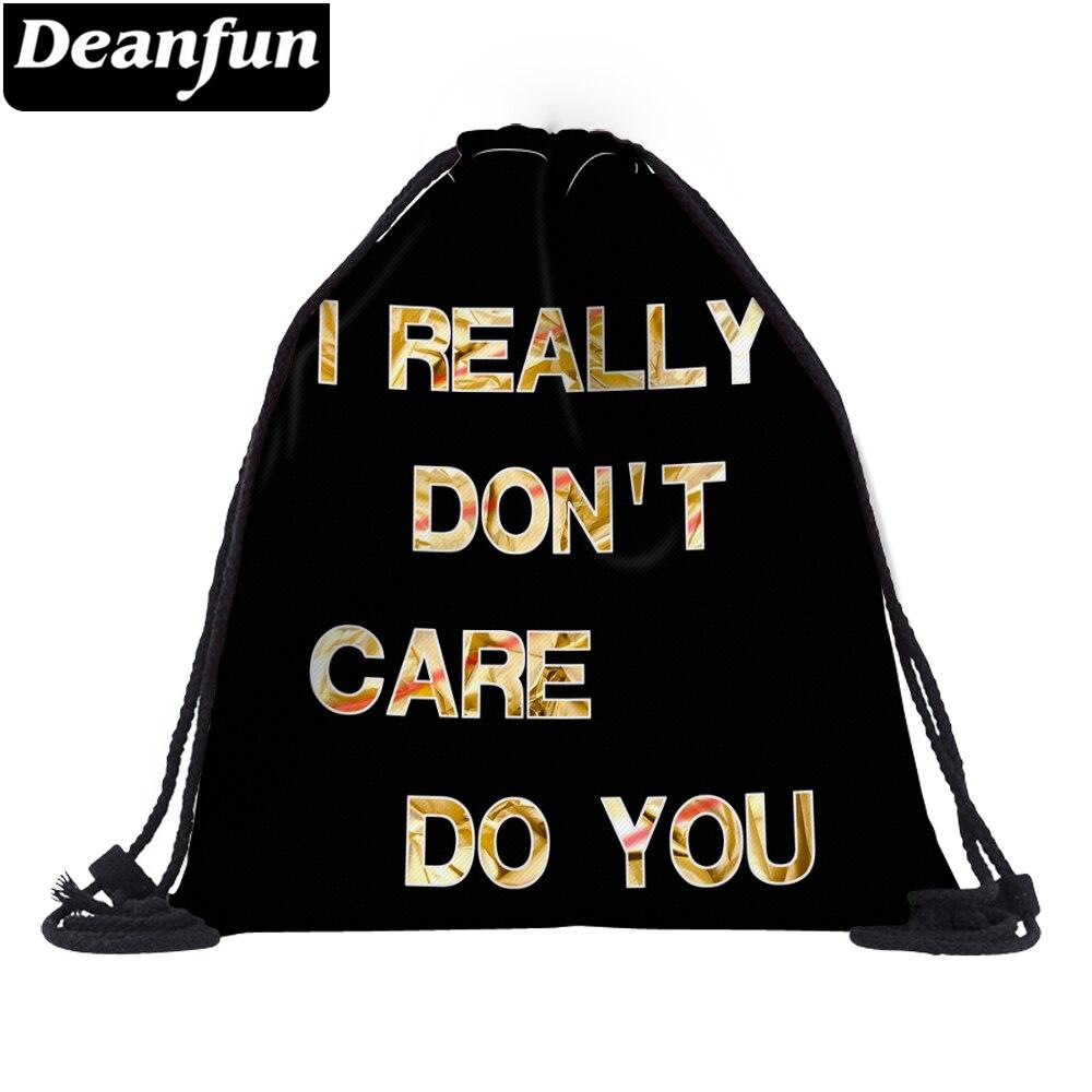 Deanfun Black Letter Drawstring Bag Women 3D Printing Unisex Schoolbags 60143 #