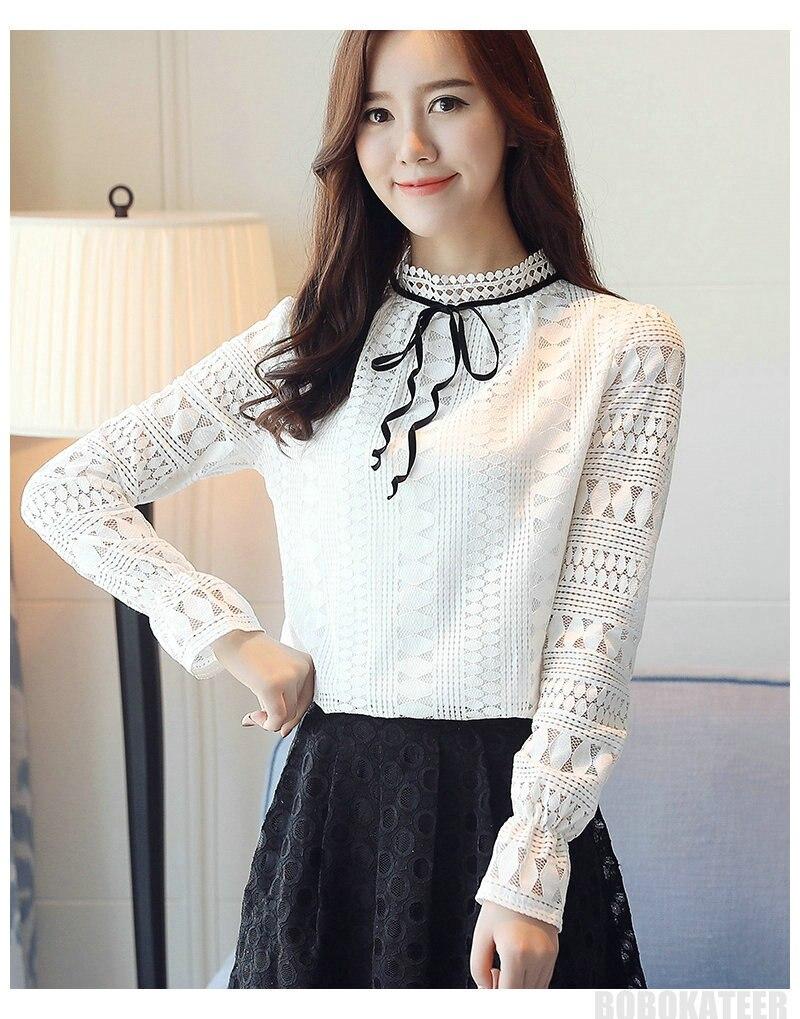 e670f278777e 2019 BOBOKATEER Ladies Long Sleeve White Lace Top Blouse Women ...