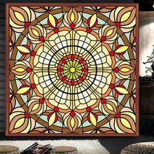 Custom size Stained glass window film electrostatic Church frosted home foil door stickers PVC self-adhesive films
