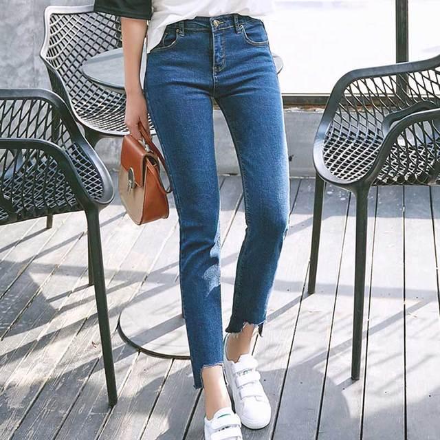 7f696b16b6e0c Women Jeans 2017 Autumn Step Hem Cuff Ankle Length Washed Blue Stretch Denim  Crop Jean