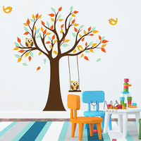 Cartoon Colorful Cute Wise Wallpaper Owls Bird Animal Tree Wall Stickers Decals Kids Room Adhensive Decoration Nursery 160*170CM