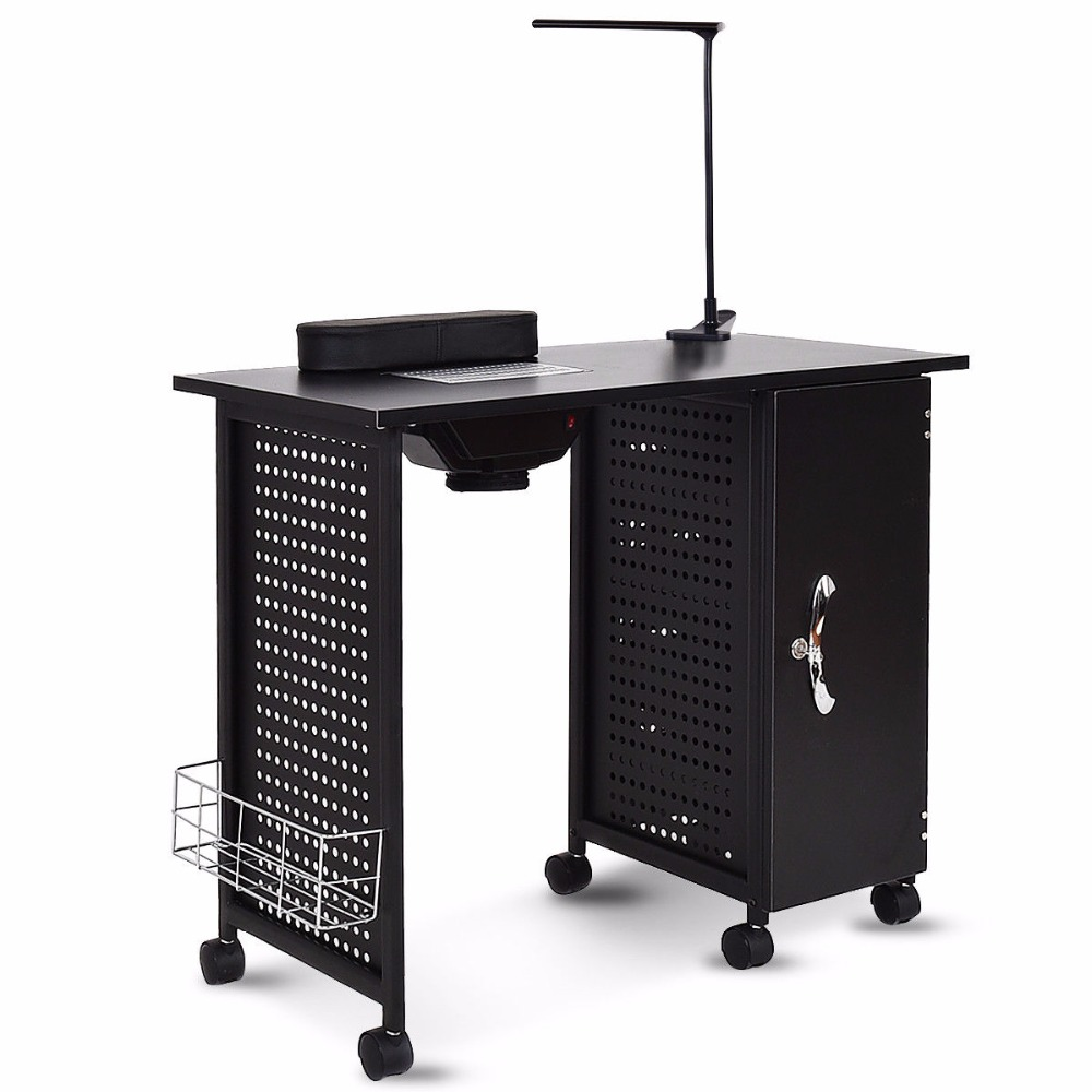 Giantex Manicure Nail Table Station Black Steel Frame Beauty Spa Salon Equipment Drawer Salon Furniture HB84910 цена