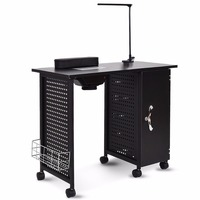 Giantex Manicure Nail Table Station Black Steel Frame Beauty Spa Salon Equipment Drawer Salon Furniture HB84910
