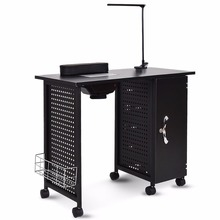 Giantex Manicure Nail Table Station Black Steel Frame Beauty