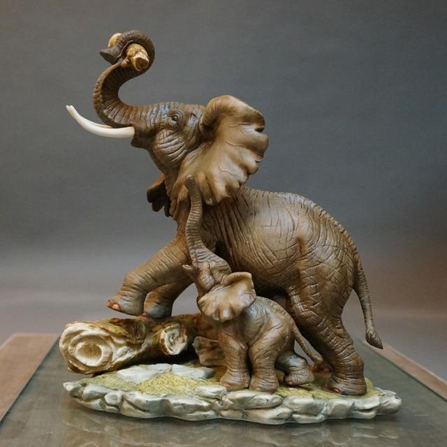 Great Retro Ceramic Lucky Elephant Home Decor Crafts Room Decoration Vintage  Ornament Porcelain Animal Figurine Office Decoration
