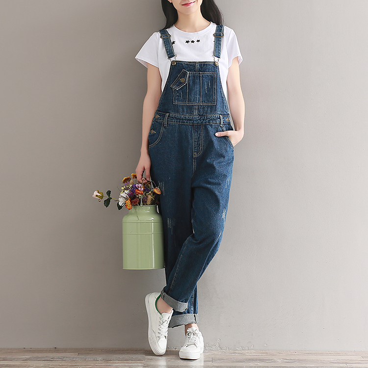 2018 Women Jeans Jumpsuit Female Wide Leg Rompers Casual Basic Denim Pants Large Size Leisure Loose  Fit Overalls Bib Jeans