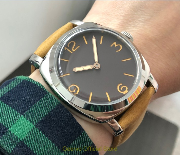 47mm GEERVO Light coffee colour dial Asian 6497 17 jewels Mechanical Hand Wind movement men s