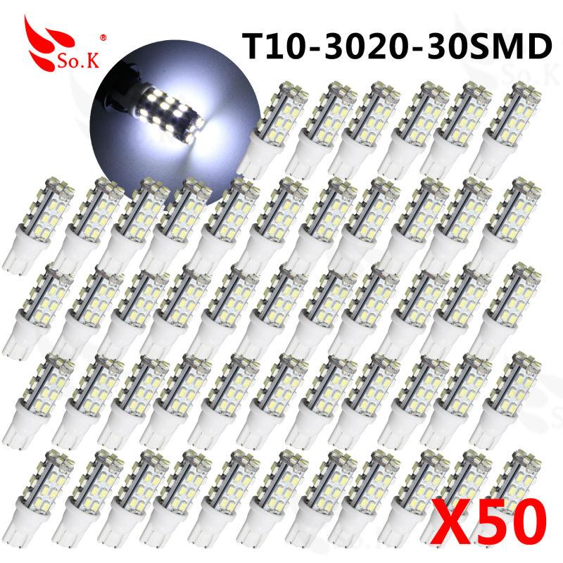 ФОТО 50Pcs Best Price T10 W5W 194 168 30 LED 1206 SMD Xenon White Car Auto Light Source Backup Reverse Parking Lamp Bulbs 7000K DC12V