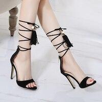 Ladies High Heels Sandals Fashion Pearl Gladiator Strappy High Heels Summer Women Sandals Tassel Heels Chaussure