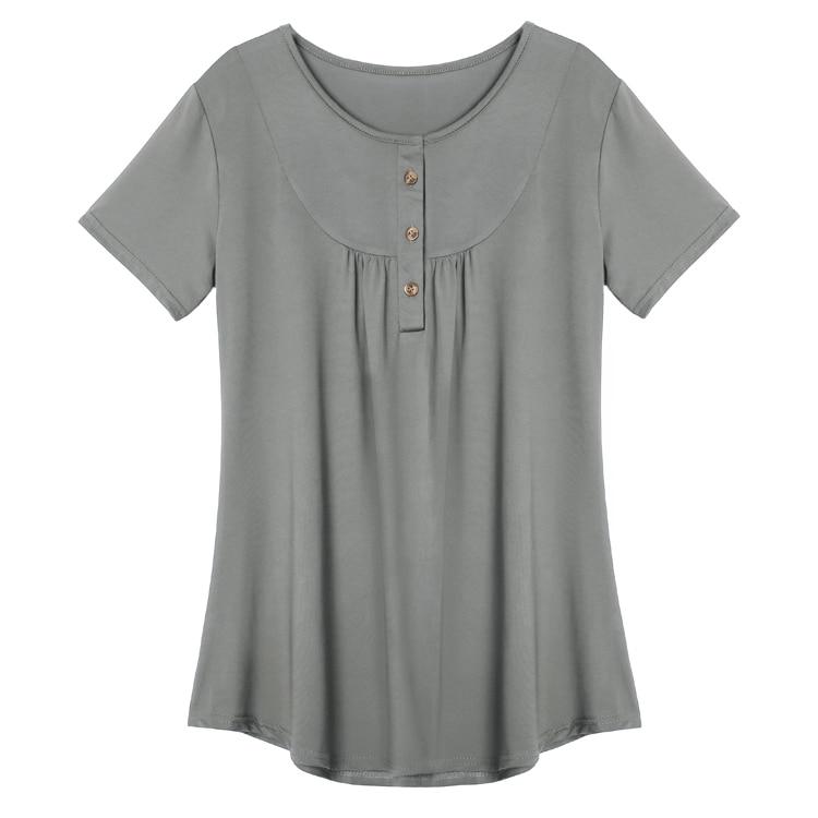 2018 Nieuwe Hot Vrouwen Gesmokte O-hals Knop Losse Korte Mouw T-shirt Complete Reeks Artikelen
