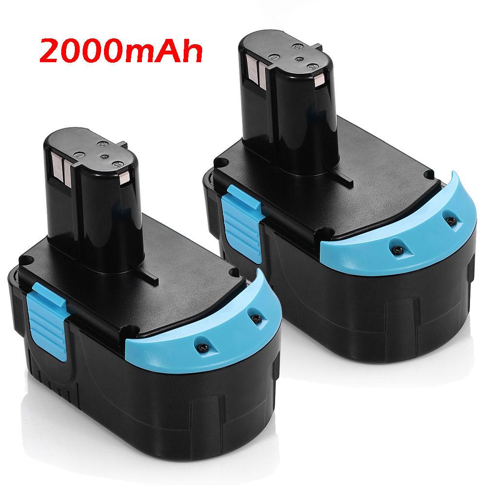 2pcs Powerextra Ni-CD 2000mAh 18v batteries Replacement Battery For HITACHI Power tools EB1820L EB1814SL BCC1812 C18DL 2 x panku 18v 3 0ah nimh replacement battery for porter cable pc18b 2 18 volt cordless tools batteries