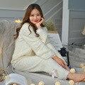 Invierno Espesada Keep Warm Mujeres Pijamas de Manga Larga Estilo de Corea Encantadora Pijamas De Mujeres Pijamas De Unicornio Pijamas