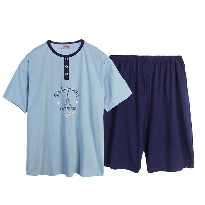 Men's Pajama Sets Men's Sleep & Lounge Popular Brand Free Shipping Mens Plus Size Short Sleeve Shorts V Collar Sleepwear Set Soft 100% Cotton Pajamas Nightgown Summer Homewear 5xl