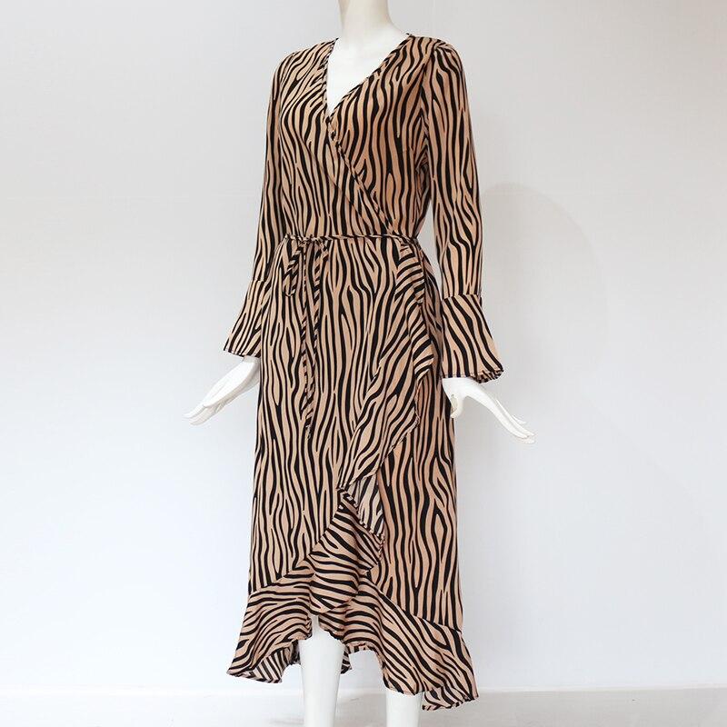 Long Dresses 19 Women Zebra Print Beach Bohemian Maxi Dress Casual Long Sleeve V Neck Ruffles Elegant Party Dress Vestidos 13