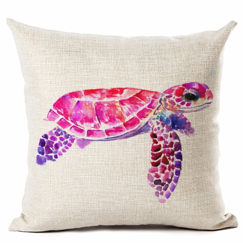 Image 4 - Watercolor Painting Ocean Cushion Cover Mediterranean Blue Sea Turtle Printed Linen Decorative Pillows Case Office Sofa Chiar-in Cushion Cover from Home & Garden