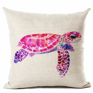 Image 4 - Watercolor Painting Ocean Cushion Cover Mediterranean Blue Sea Turtle Printed Linen Decorative Pillows Case Office Sofa Chiar