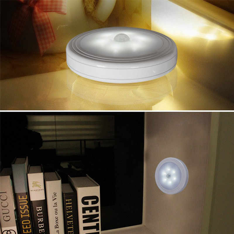 Baterai Dioperasikan PIR MOTION SENSOR Night Light 6 LED Hemat Energi Lampu LED untuk Lemari Dapur Lemari Jalur Tangga