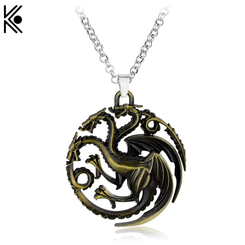 Targaryen game of thrones dragon necklace bronze dragon for Dragon gifts for men