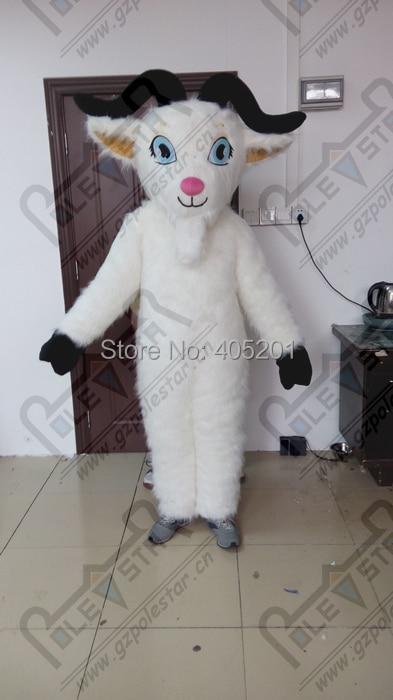Cabra larga blanca de piel de cabra trajes de la mascota del - Disfraces