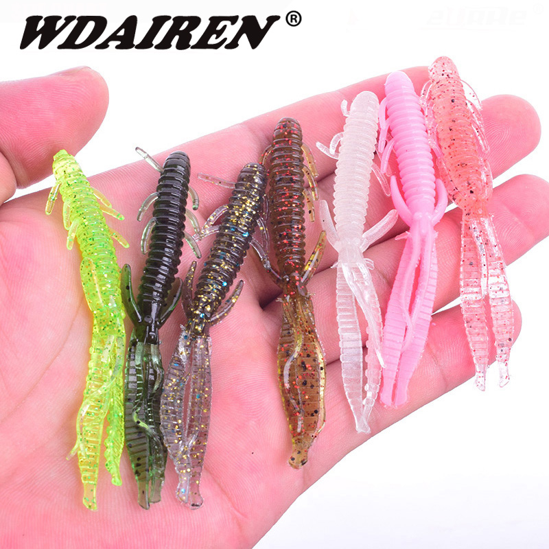 5pcs/lot 7.2cm 1.8g Shrimp smell jig soft Fishing Lure Attractive Fish Crab Fishing Bass Soft Bait iscas pesca para WD-394 7pcs lot fishing lure sea bass soft bait iscas artificiais para pesca jig head twirl tails worm baits jigging soft bait wq191