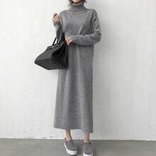 Водолазка, плотное вязаное длинное зимнее черное платье-свитер, женское вязаное длинное платье, женское свободное платье для девочек, большие размеры, Vestidos