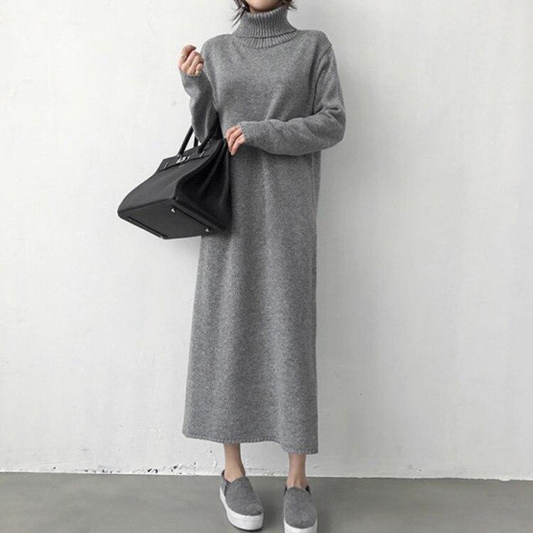 Turtleneck Thick Knitting Long  Winter Black Sweater Dress Women Knitted Long Dress  Female Loose Girls Dress Oversize Vestidos