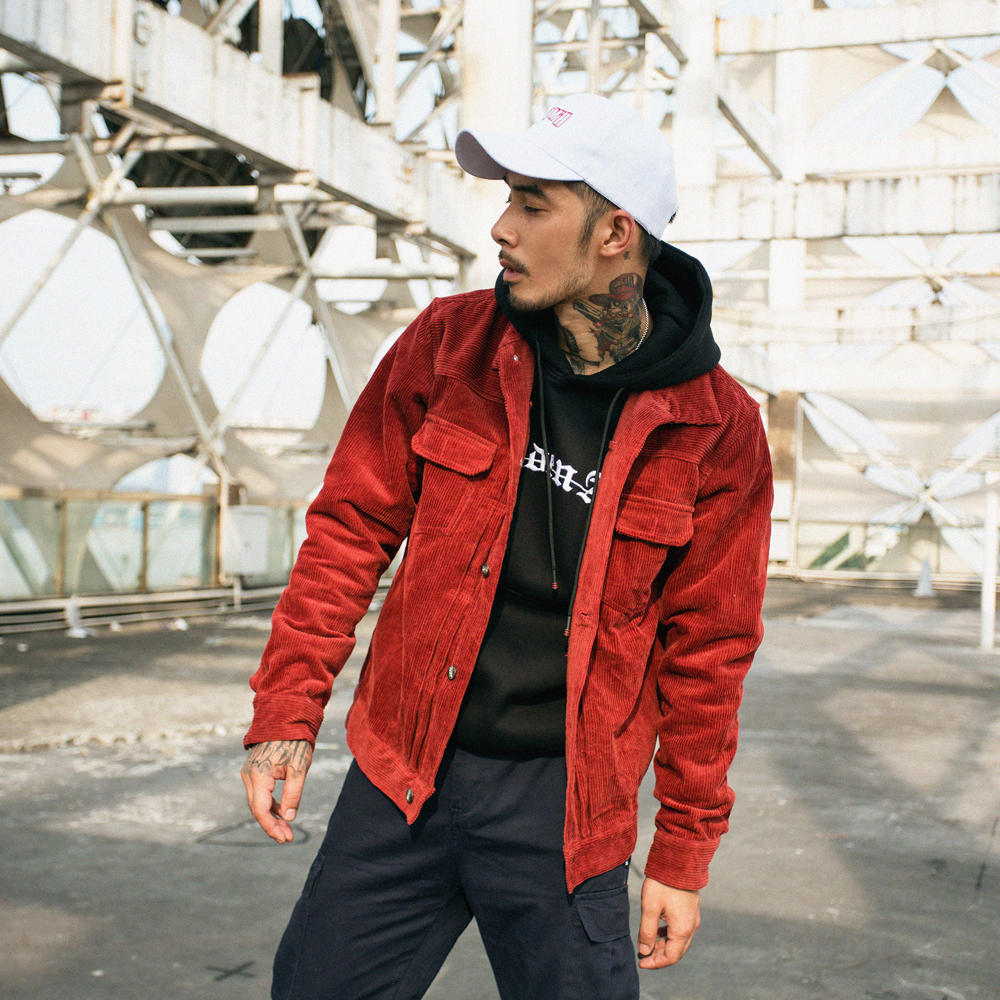 Image 2 - Mens Solid Color Corduroy Jacket 2018 Autumn and Winter High Street Tide Male BF Retro Wash Multi pocket Loose Jackets Clothes-in Jackets from Men's Clothing