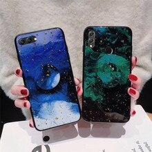 gold foil bling phone case for Huawei honor view v10 lite 8 pro 9 10 8x v9 luxury glitter cloud holder stand back cover fundas