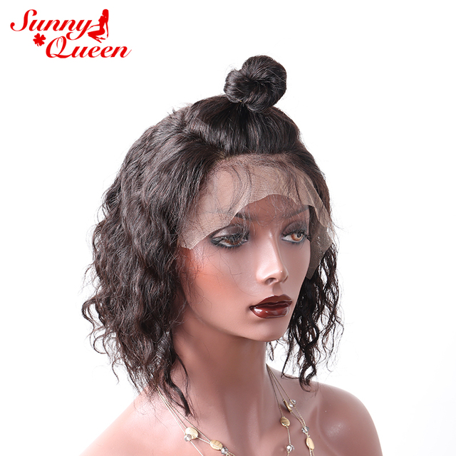 Human Hair Bob Wigs For Black Women Lace Front Short Human Hair Wigs Brazilian Non-Remy Hair Natural Color Full End Sunny Queen