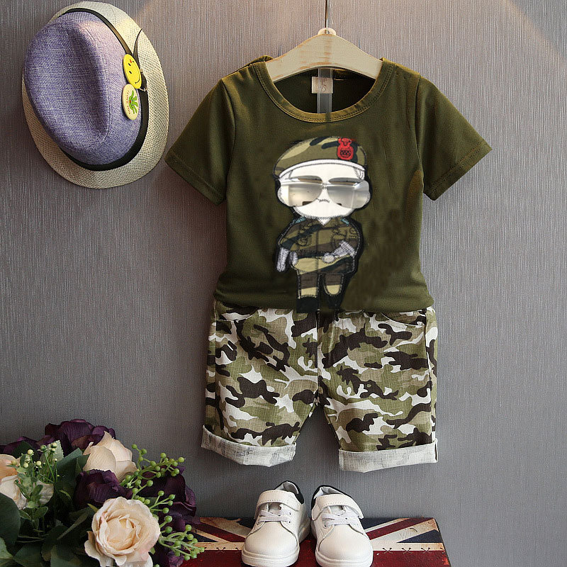 Summer Children Boy Clothes Sets Kids 2pcs Short Sleeves T-Shirt - Children's Clothing - Photo 2