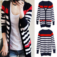 2016 Spring And Autumn New Korean Slim Was Thin Cardigan Sweater Long Sections V Neck Striped