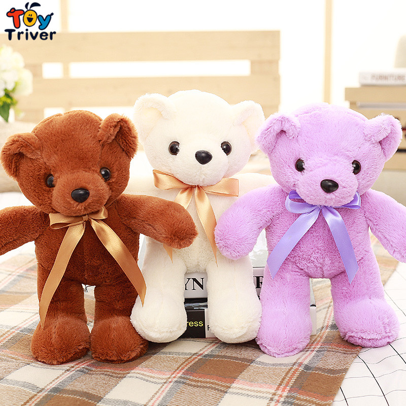 31cm Cartoon Purple Brown White Pink Teddy Bear Plush Toy Stuffed Animal Doll Toys Baby Kids Children Birthday Promotional Gift the lovely bow bear doll teddy bear hug bear plush toy doll birthday gift blue bear about 120cm