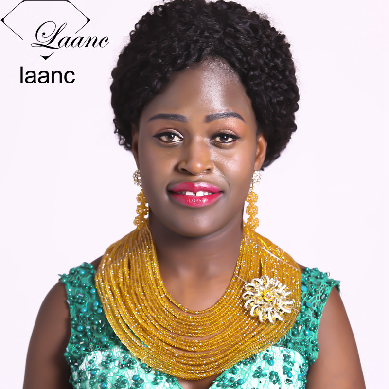 Laanc 18inches 20 Rows Champagne Gold Nigerian Necklace African Beads Crystal Bridal Wedding Party Jewelry Sets AL596Laanc 18inches 20 Rows Champagne Gold Nigerian Necklace African Beads Crystal Bridal Wedding Party Jewelry Sets AL596