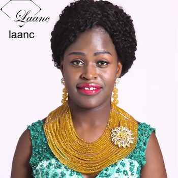 Laanc 18inches 20 Rows Champagne Gold Nigerian Necklace African Beads Crystal Bridal Wedding Party Jewelry Sets AL596