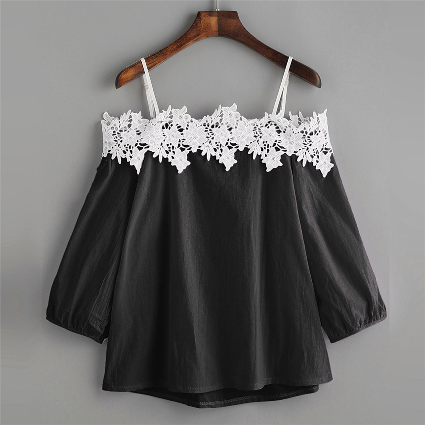 CHAMSGEND Trendy Style Female T-shirts Solid Womens Off Shoulder Lace T-Shirt Top Ladies Tops Tee For Women Girls Gifts