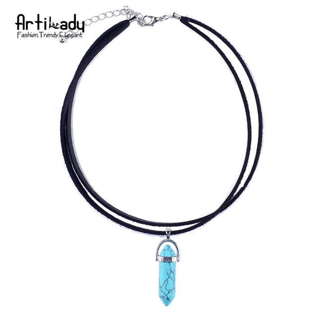Artilady Pu Leather opal Necklace