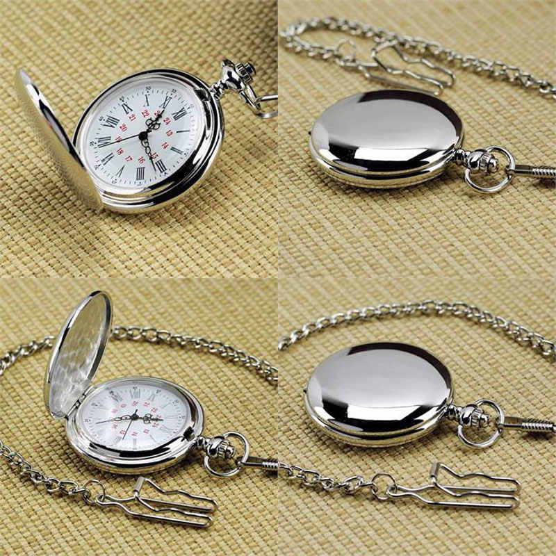 New Arrival Silver Smooth Quartz Pocket Watch Fob Chain Best Gift Men Women Fashion Steampunk Roman Numerals reloj de bolsillo