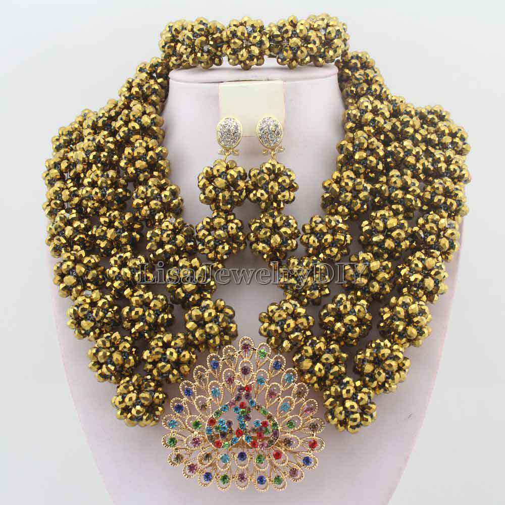 Latest Design Nigerian Wedding Bridal Beads Necklace Earrings ...