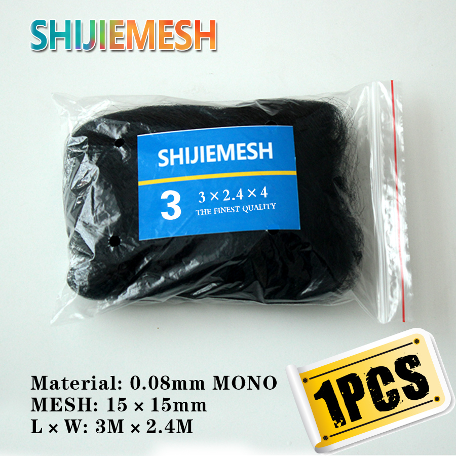 High Quality Deep Pockets Nylon Monofilament 0.08mm 3M X 2.4M 15mm Hole Orchard Garden Anti Bird Net Knotted Mist Net 1pcs