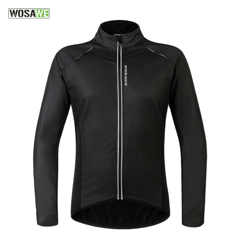 WOSAWE Windproof Waterproof Cycling Jacket with PU Leather Winter Thermal Fleece Warm Men's Riding Bike Bicycle Sport Jacket fleece graphic embroidered pu leather jacket