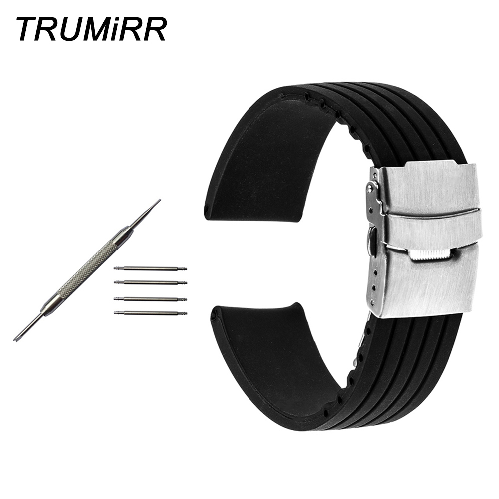 18mm 20mm 22mm 24mm Silicone Rubber Watch Band + Tool for Breitling Men Women Stainless Steel Safety Buckle Strap Bracelet Black silicone rubber watch band for breitling 20mm 22mm 24mm men women resin strap belt wrist loop bracelet black spring bar tool