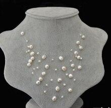 Increíble mujeres de la joyería de 5 capas blanco rosa violeta negro Real perlas de agua dulce cielo estrellado novia de la cadena collar collar de moda
