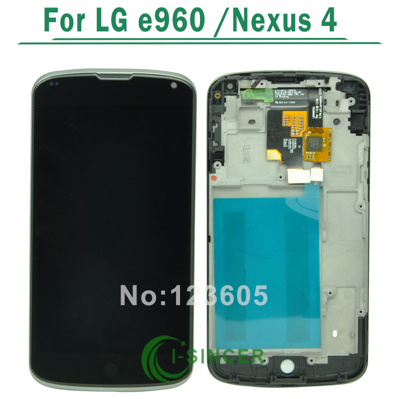 1/PCS Black Replacement LCD Display Touch Digitizer Screen With Frame Assembly For LG Nexus 4 E960 Free shipping