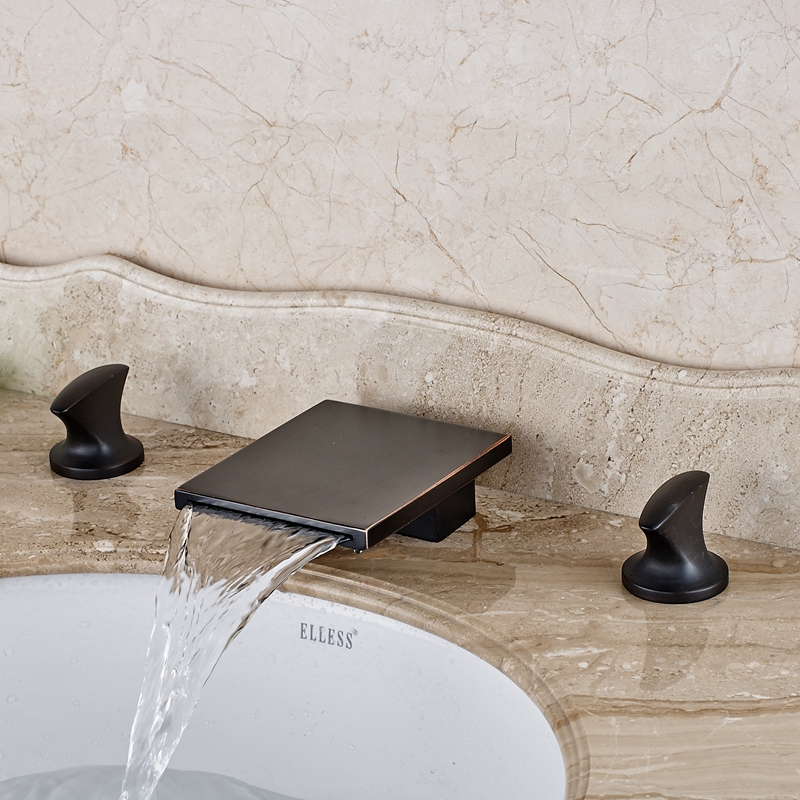 Oil Rubbed Bronze Waterfall Square Spout Bathroom Basin Faucet Dual Handle Mixer wholesale and retail contemporary oil rubbed bronze led waterfall