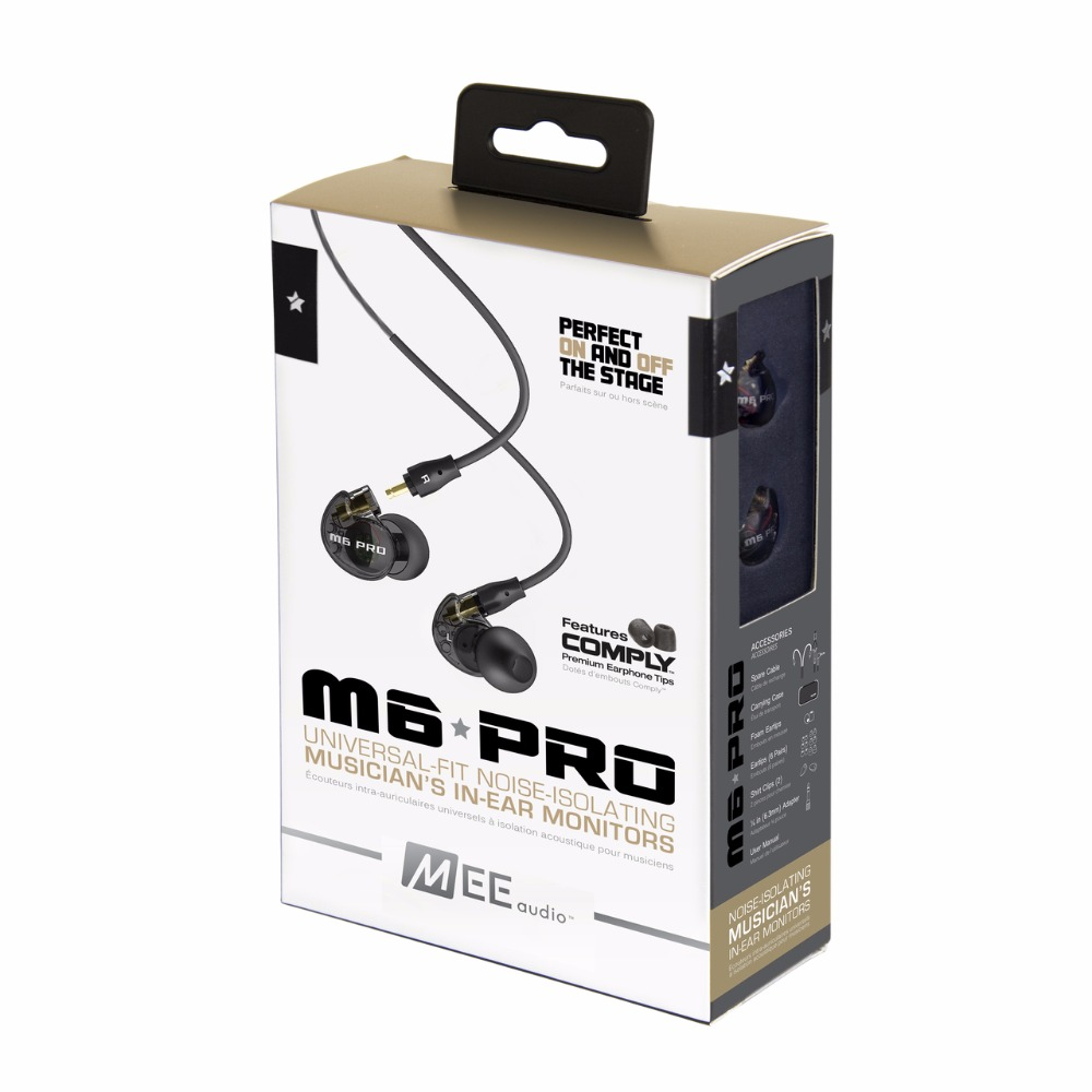 Original MEE audio Headphones Earphones M6 PRO Noise Isolating Music In ear Monitors Headset +Detachable Cables With Microphone dhl free 2pcs black white m6 pro universal 3 5mm wired in ear earphone noise isolating musician monitors brand new headphones